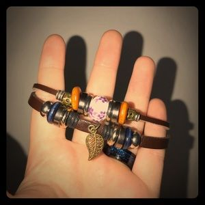 Layered and beaded adjustable leather bracelet